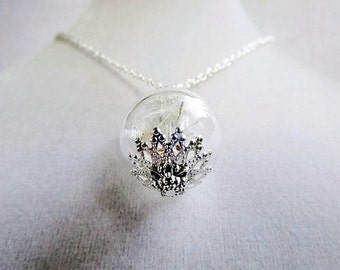 Dandelion Seed Glass Orb Terrarium Necklace, Small Orb In Silver or Bronze, Bridesmaids Gifts, Spring Wedding, Nature Inspired