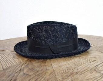 20% OFF SALE - 50s Globus Bradford Nurnberg Germany Mohair Wool Pork Pie Jazz Hat / Size 55