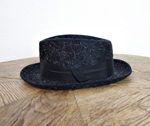 SALE - 50s Globus Bradford Nurnberg Germany Mohair Wool Pork Pie Jazz Hat / Size 55