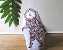 Plush Bigfoot Sasquatch Pillow. Hand Woodblock Printed. Pick any colors. Made to order.