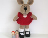 Heart Plush Gift Bunny  - Valentine Stuffed Bunny - Knitted Bunny Rabbit Toy -  Knit Toy - Kids Toy - Stuff Animal - Plush Doll - Child Toy