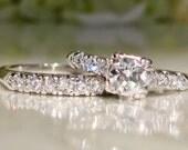 Platinum Antique Engagement Ring Set 0.99ctw Diamond Art Deco Wedding Set Old European Cut Diamond Wedding Ring Vintage Bridal Set Size 6!