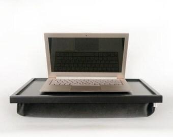 Velvet pillow Breakfast serving or Laptop Lapdesk- black with dark grey velvet fabric pillow