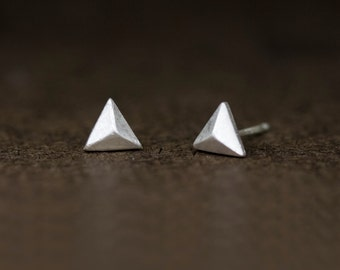 Ready to ship, Triangle Solid Pyramid  Stud Earrings in Sterling Silver