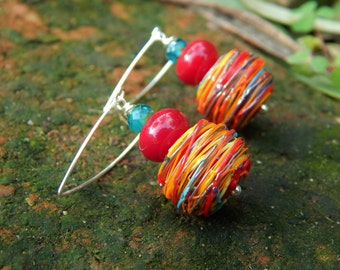 Rainbow Tower Earrings - Gorgeous Handmade Lampwork Glass Beads w Czech Glass & Handmade Sterling Ear Wires / Proceeds Aid Lupus Foundation