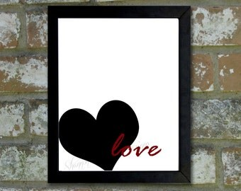 "Digital Download Typographic Print Wall Art ""Love"" Instant Download Printable Art Printable Word Art Black and White Home Decor"