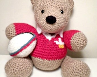 Crochet Welsh Rugby Teddy Bear handmade just for you.