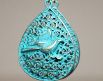 Turquoise Earrings Patina Earrings Drop Earrings Dangle Bird Earrings Boho Chic Earrings Bohemian Earrings Jewelry