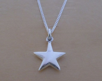 """925 Sterling Silver Puffed 13 mm Star Pendant, Charm on 16, 18 or 20"""" Curb Chain"""