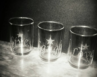 Hand etched live laugh love candle holders