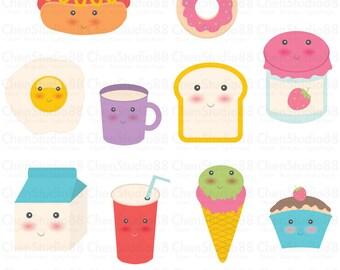 Kawaii food vector - Digital paper and clip art set
