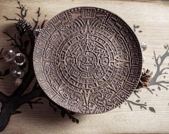 Handmade Maya Calendar wooden bowl  made of black walnut