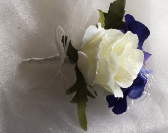Beautiful Mother of the Bride/Mother of the Groom Corsage in Ivory Rose/Rich Blue Hydrangea and Pearls Finished with Ivory Satin Ribbon