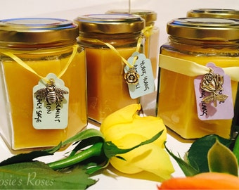 Container Candles filled with 100% natural Beeswax. Also available with hand blended essential oils.