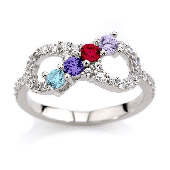 Sterling Silver Personalized Mothers Infinity Ring  w/ 1 2 3 4 5 or 6 Birthstones And Side CZ Accents  Custom Family Jewelry