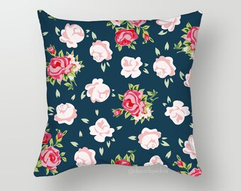 Black Rose Floral Pattern 18 x 18 Pillow Cover - One Pillow Cover with insert - Accent Pillow - Decorative Pillow - Throw Pillow Cover Case
