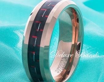 Rose Gold Tungsten Wedding Ring,Red Carbon Fiber Inlay Gold Tungsten Band,Tungsten Wedding Band,Tungsten Anniversary Ring,Mens Tungsten Ring
