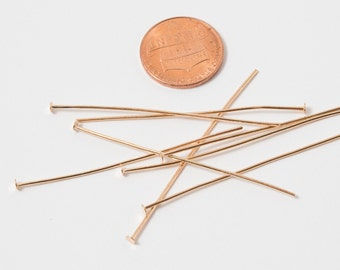 100 Pcs Gold Plated Head Pin 2in / 21 Gauge / ITEM 1024-100