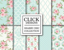 """Shabby Chic Digital Paper: """"SHABBY POWDER BLUE"""" Floral scrapbook background, romantic papers with roses, damask for wedding invites, cards"""