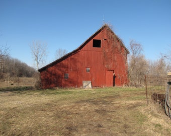 Rustic Barn Photo, Red Barn Print, Old barn Photo, Country photo, Rustic Photo