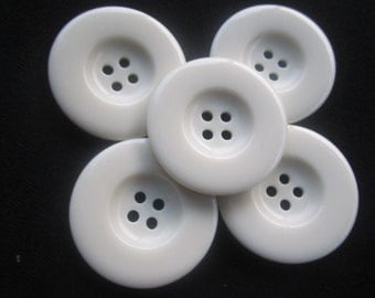 5 Unique extra large white buttons/ 4.5cm/ 1.77 inches/ 45 mm