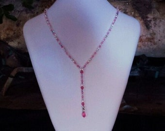 Purple tear drop necklace an pink tear drop necklace