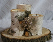 White Birch Log Candle Holder - Rustic Decor - Reclaimed Wood - Tealight Holder - Candle Holder - Christmas Decorations