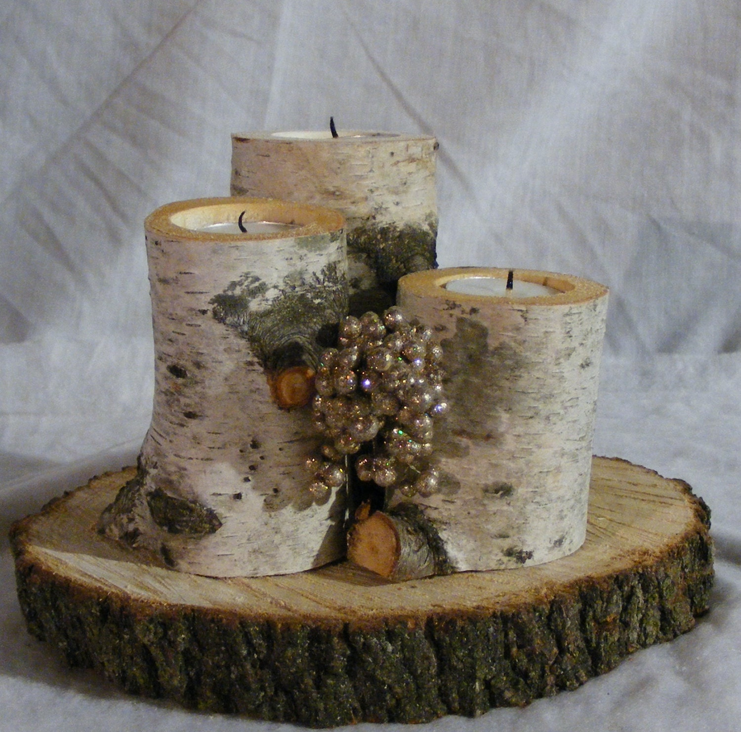 White Birch Log Candle Holder Rustic Decor by GFTWoodcraft