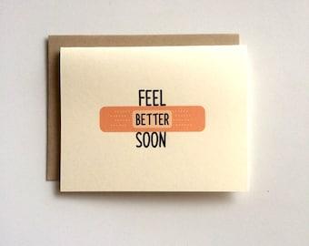 Feel Better Soon Card- Get Well Card- Band-Aid Card- Greeting Card