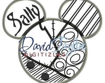 Mickey head - Nightmare Before Christmas - Sally - Applique - Instant Download - David Taylor Digitizing
