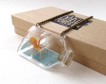 Kraken Attack in a Bottle Clear Acrylic Necklace
