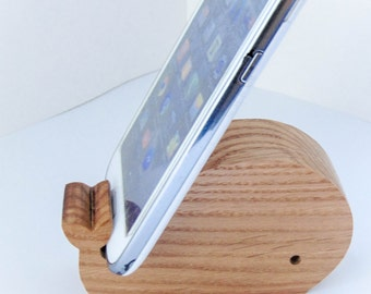 Whale phone holder \ tablet holder made of oak