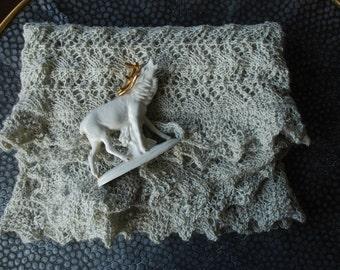 Handknitted shawl / gray shawl / big shawl /  knit shawl