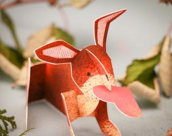 Charming Rabbit, 3D Paper Greeting Card/Sculpture