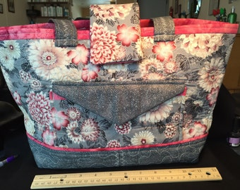 Asian, metallic, Pink & gray.Large bag, purse, tote, diaper bag, hand quilted Pockets galore