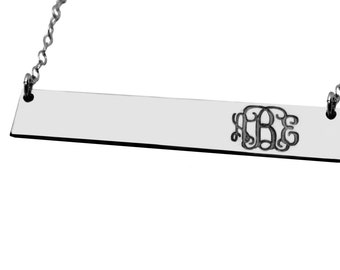 Silver monogram bar necklace Silver Engravable bar necklace Personalized Jewelry Silver Bar Necklace