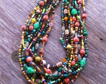 Dryad Trinkets - Green, Brown & Orange Mass Beaded Statement Necklace