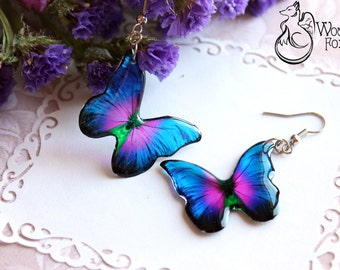 Resin Transparent Earrings  Butterflies - Picture Jewelry