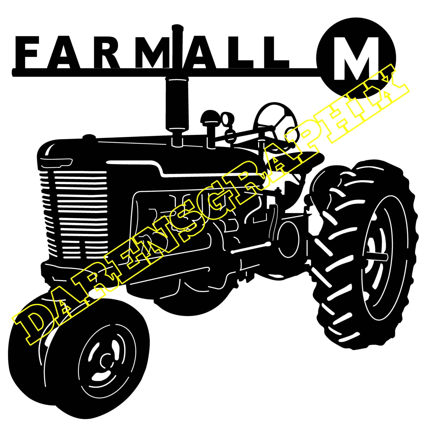Farmall M Decal : Dxf file of a farmall m tractor for use with cnc machine