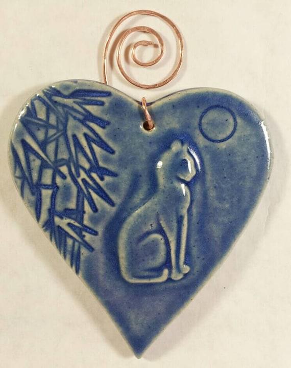 ceramic cat heart ornament