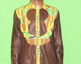 African Clothes ,Kente trimmed Dark Brown cotton shirt