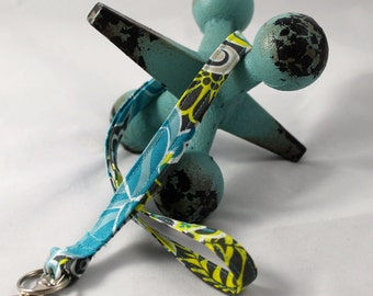 Fabric Lanyard / ID Badge Holder-- READY to SHIP- Beautiful Teal and Citron Floral Fabric