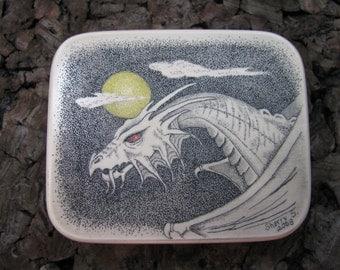 Scrimshaw of Dragon on Micarta Flat