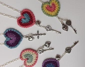 Crocheted Heart Necklace Pattern