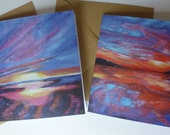 Set of 2 Cards with envelopes, 'Sunset' designs printed from my original acrylic paintings, blank inside, FREE UK delivery