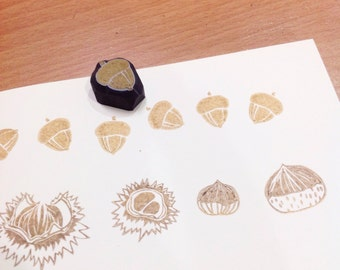 Tiny acorn hand carved rubber stamp.acorn rubber stamp.acorn stamp.autumn stamp.fall stamp.