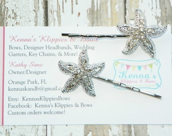 Rhinestone Starfish Bobby Pins, Beach Wedding, Bridal Hair Accessory, Hair Clips, Destination Wedding, Starfish Hair Pins, Bridesmaid Gift