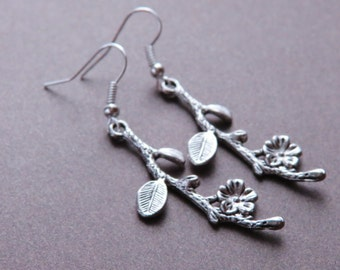 Flower Branch Earrings, Flower Branch Jewelry ,Cute Flower Branch Silver Earrings,
