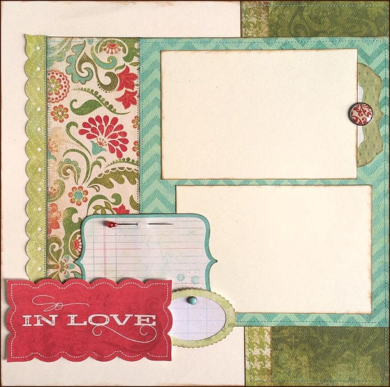 12x12 Premade Scrapbook Page So In Love Layout By DaringDezinz