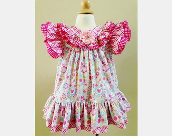 Lovely Ruffle Dress PDF Sewing Pattern for girls 6 months to 3T, instant download